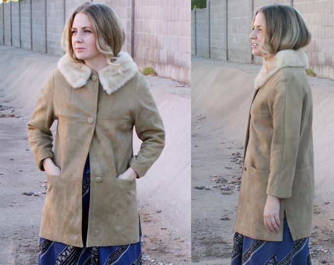 60's Suede Coat with Fur Collar, Jackie O Coat