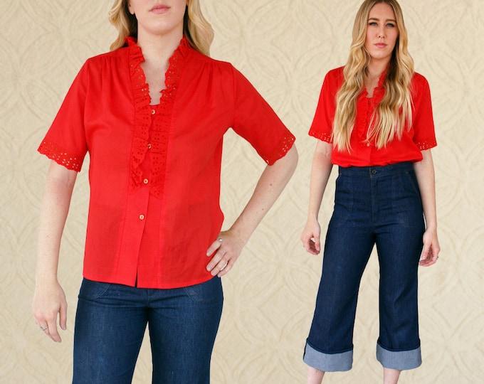 Vintage Cotton Ruffle Top, Women's M/L Top