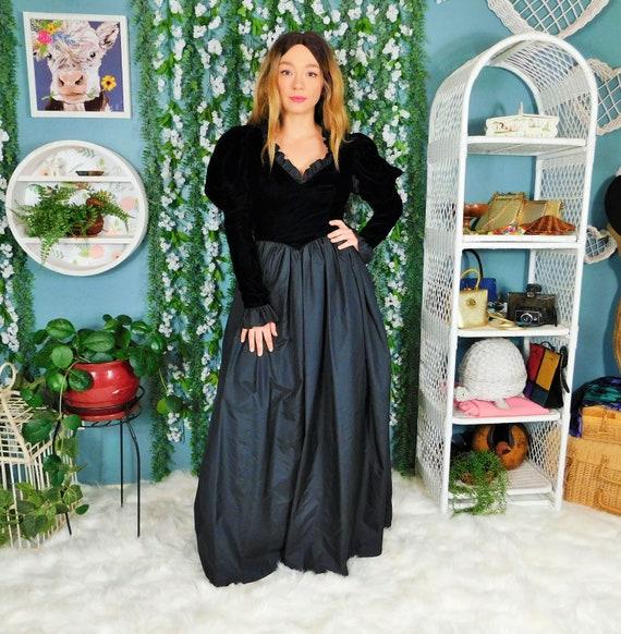 80s Casadei Black Formal Velvet Bodice Maxi Dress