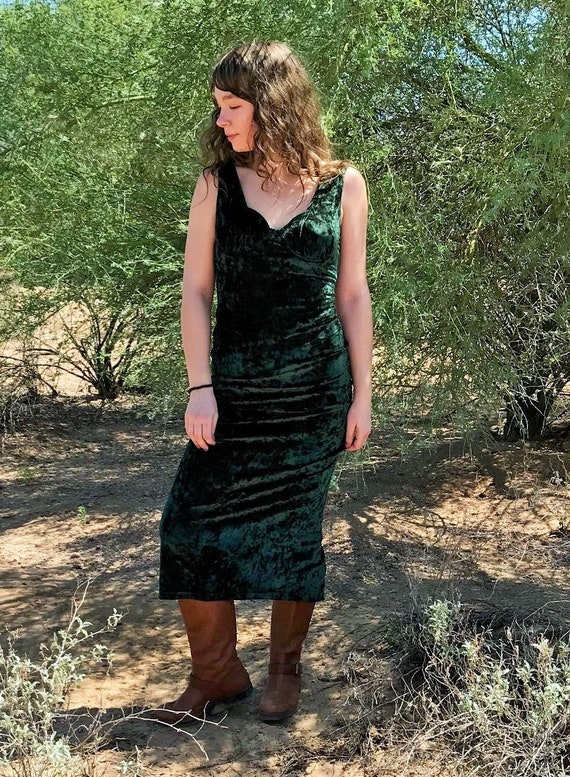 Contempo Casuals 90s Stretch Crushed Velvet Dress