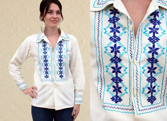 60's Mexican Embroidered Folk Shirt, Women's XS/S