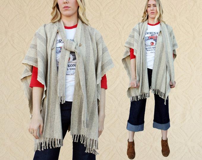 70's Striped Wool Poncho