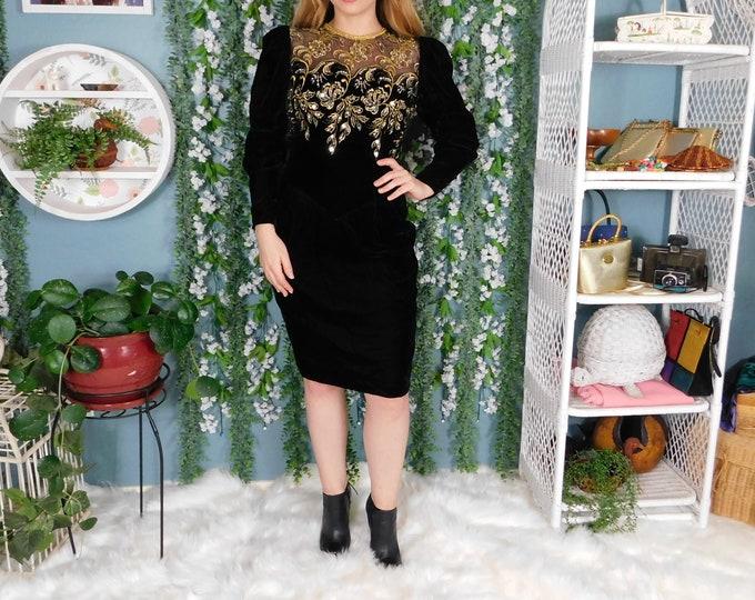 80s Jessica McClintock Mid Length Black Velvet Dress / Vintage Velvet with Gold Embroidery and Sequin Sheer Back Dress