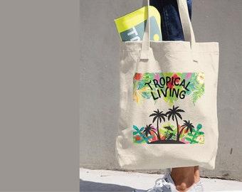 Tropical Living Tote Bag, Bull Denim Bag, Tropical Classic Tote, Beach Scene Tote Bag, Tropical Vacation Bag, Beach Vacation, Classic Tote