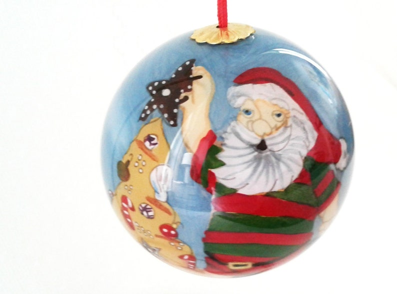 Classic Santa Claus in a Fluffy Fur Coat Glass Christmas Ornament 6 Inches