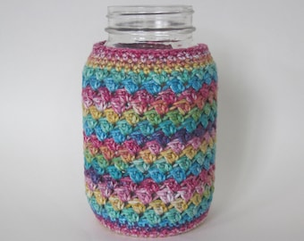 Crochet Mason Jar Cozy -Quart Jar Cover - Quart Mason Jar Sleeve - 32oz Cover - Pink -Purple -Blue -Green -Yellow - Quart sized RAINBOW