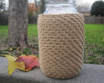 CHOOSE COLOR - Crochet Mason Jar Cozy - Quart Jar Cover - Taupe - Quart Mason Jar Sleeve - 32oz - Quart sized -Ball - Gift Idea -White