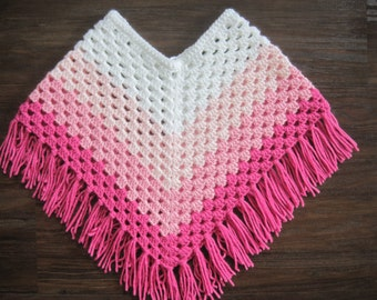 d8f5d815321ec Girls Crochet poncho - Handmade Poncho - Girls Cape - Girls crocheted shawl  - White - Pink - Shades of Pink - Girl s clothing -Toddler