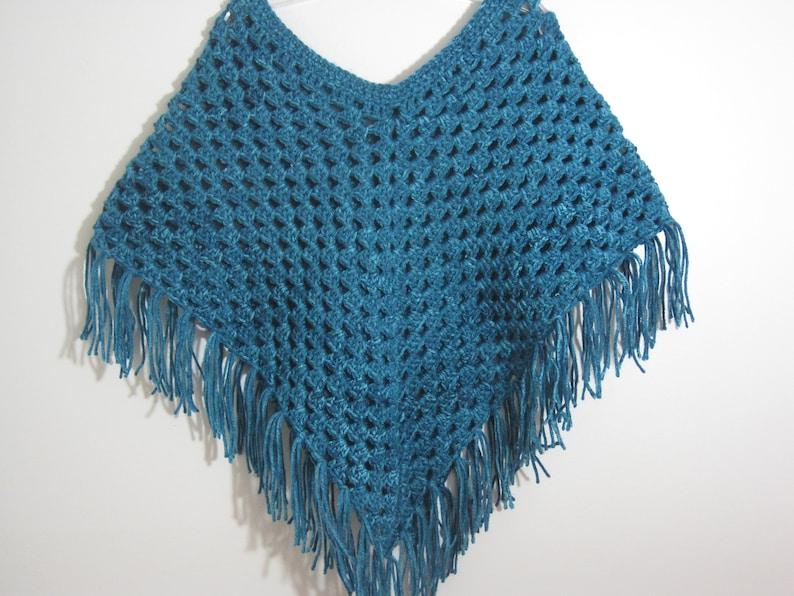 Shawl Girls Sweater READY TO SHIP Girls Cape Girls Crochet Poncho Teal Blue Dark Turquoise Handmade Poncho Age 7 /& 8