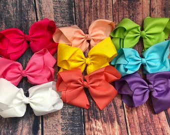"Lot 10 U Pick your colors! Extra Large 7/"" Girls Boutique Hair Bows"