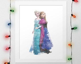 ANNA ELSA PRINT, Disney, Princess Anna, Anna, Queen Elsa, Elsa, Frozen, Anna Elsa Frozen, Watercolor, Nursery, Wall Art, Digital Print