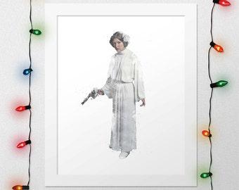 PRINCESS LEIA PRINT, Princess Leia, Star Wars, Star Wars Leia, Force Awakens, Leia Watercolor, Star Wars Poster, Star Wars Art, Digital
