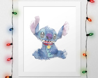 STITCH, Disney Stitch, Stitch Print, Lilo And Stitch, Disney Print, Disney Lilo Stitch, Disney Watercolor, Disney Nursery, Digital Print