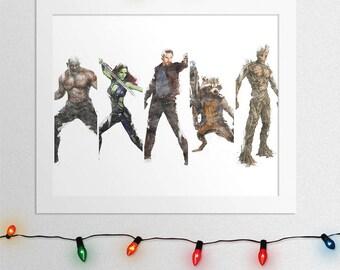 Guardians Of The Galaxy Print, Guardians Galaxy Poster, Gamora, Star Lord, Rocket Raccoon, Groot, Drax The Destroyer, Marvel, Digital Print