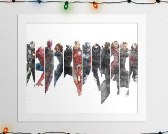 CAPTAIN AMERICA Civil War Print, Iron Man, Black Panther, Spiderman, Black Widow, Hawkeye, Falcon, Winter Soldier, Watercolor, Digital File