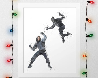 Winter Soldier vs Black Panther, Bucky, Winter Soldier, Black Panther, Avengers Marvel, Captain America Civil War, Watercolor, Digital print