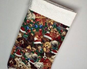 CHRISTMAS PUPPIES STOCKING - Green, Multi-color - Christmas Stocking