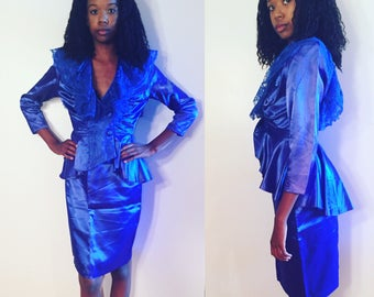 80's Taffeta Skirt and Jacket Suit