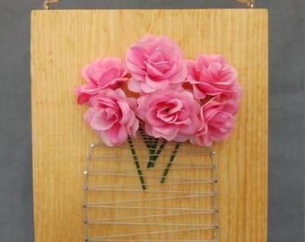 Pink Rose Mason Jar String Art