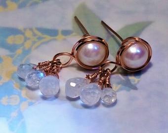 Moonstone and Pearl Earring Drop Earrings Moonstone Earrings Dangle Earrings Wedding Jewellery Navy Quartz Bridesmaid Earrings