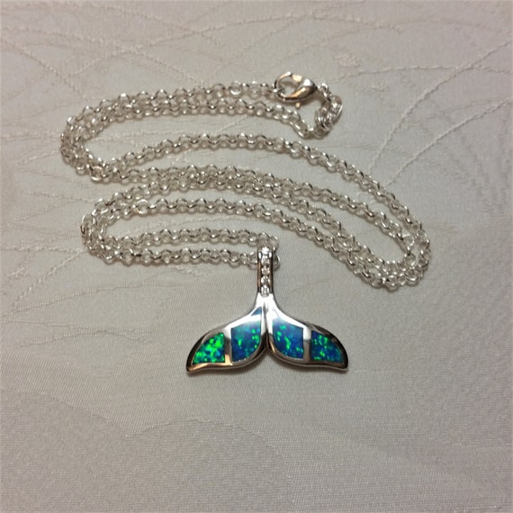 925 Sterling Silver Mermaid Blue Green CZ Pendant Necklace Jewelry NEW
