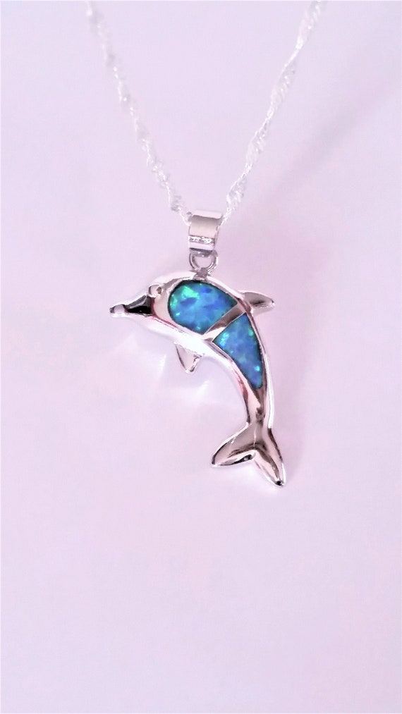 animal necklace blue necklace holiday memory Dolphin necklace