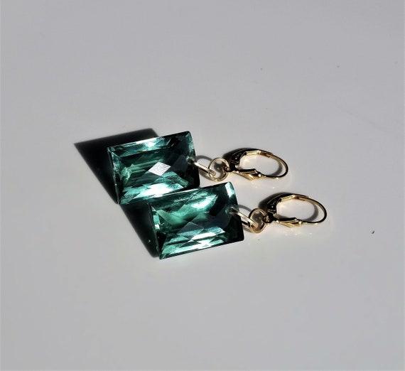 green amethyst earrings with lever back system Prasiolite earrings in sterling silver