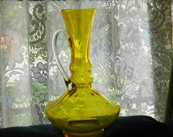 Vintage Genie Glass Bottle~An Elegant Mid Century Yellow Genie Style Bottle~Vase~For Shelf Display~Add Flowers Makes a Great Gift~