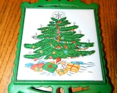 Christmas Cast Iron Green Trivet w a Painted Christmas Tree Decor on Ceramic Tile Wall Decor Hang in a Group or By itself