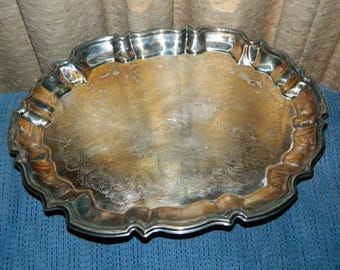 Silver Plate Vintage Serving Tray w/ Feet~A Uniquely Shaped Silver Plated Platter~Perfect For Parties~Showers~Luncheons~Special Occasions