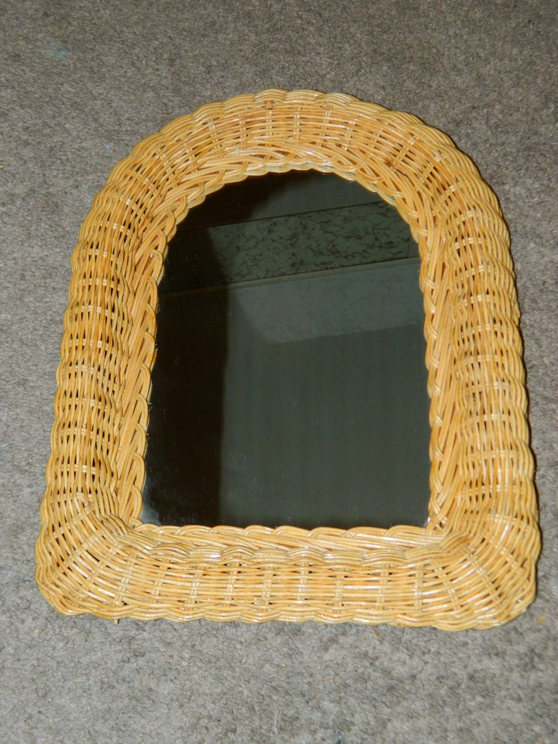 A Vintage Wicker Wall Mirror W A Arch Shaped Top Nice Wall Etsy