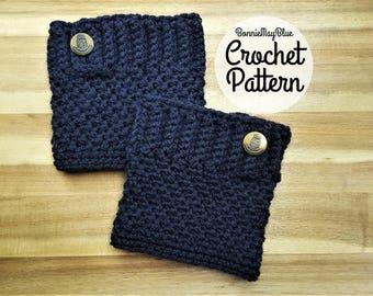 Boot Cuff Pattern, Boot Toppers Pattern, Crochet Cozy PDF PATTERN, Button Boot Socks, Cuff Liners S/M, L, XL Womens Accessories Button Socks