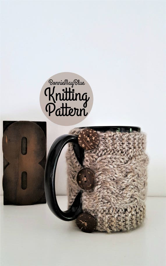 Knit Mug Cozy Cup Cozy Pattern Mug Sleeve Knitting Pattern Etsy