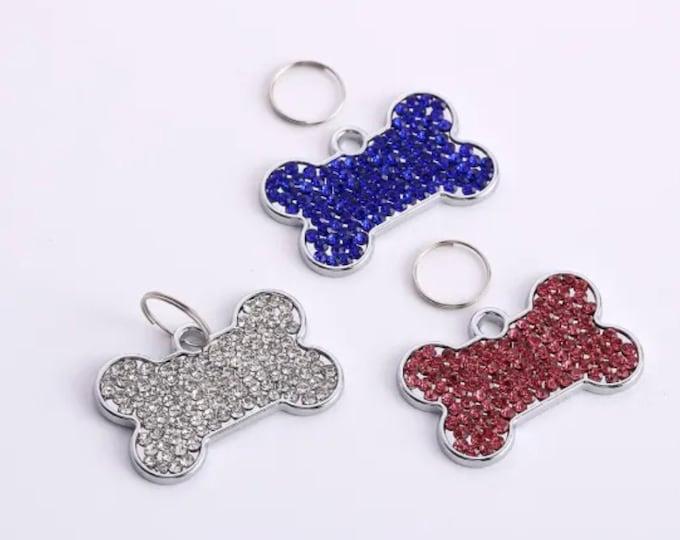 Pet Charm Tag Bone Shape Pendant Dog Jewelry Rhinestone Tag Accessories, Crystal Bone Tag ID