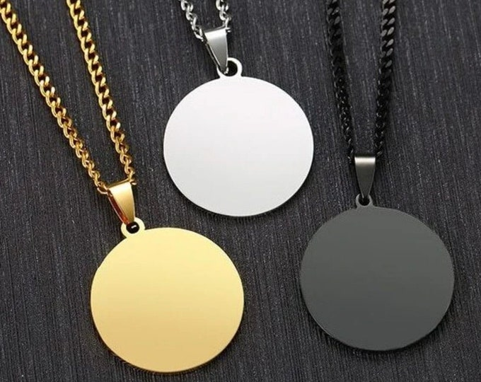 Engravable Large Circle Layered Necklace with Round Disc Coin Pendants, Classy Men Round Black Pendant Necklace