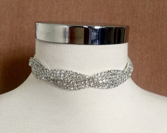 Twisted Rhinestone Choker, Crystal Choker, Choker Jewelry