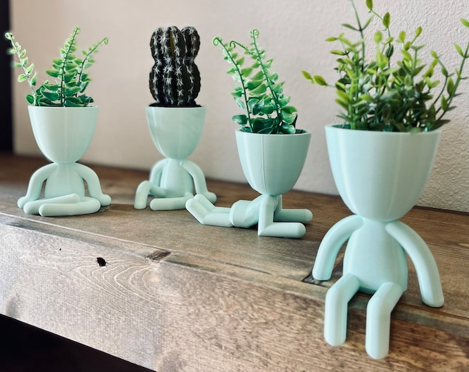 Baby Blue/Green Classic Mini Plant Buddy | Plant Holder | Unique Gift | Home Decor | Set of 4