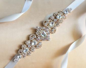 Gold Bridal Sash | Gold Rhinestone Belt | Wedding Sash Belt