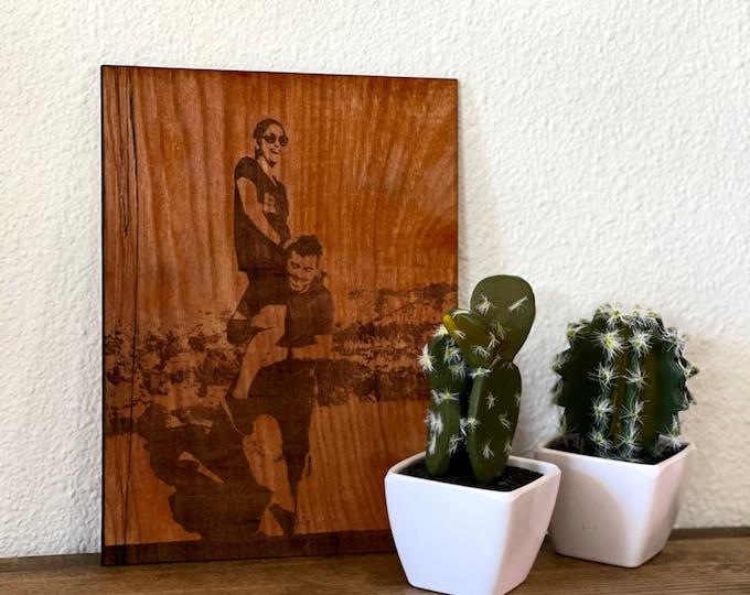 Engraved Wood Photo / engraved photo on wood / custom wood photo / Christmas Gift / wood portrait / photo on wood / Wood Photo