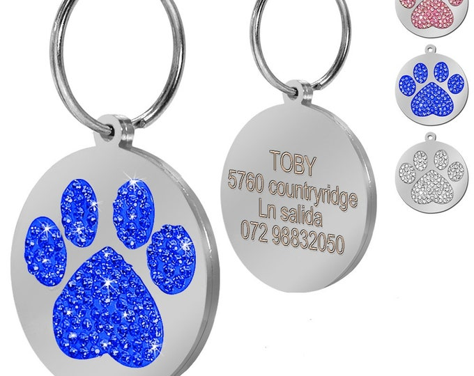 Go Tags Personalized Stainless Steel ID Tag | Paw Print | Crystal Tag ID