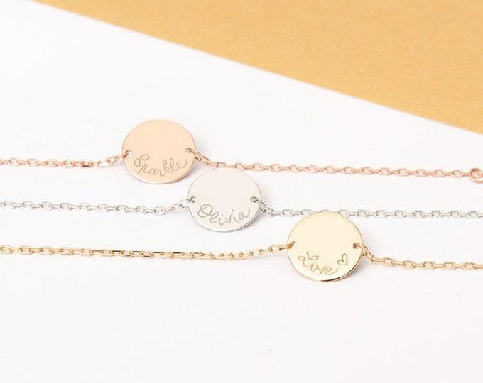 Personalized Chain Bracelet | Engravable Monogram Disc Bracelet