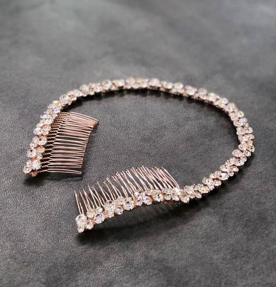 Rose Gold Bridal Headband Rose Gold Headpiece Rhinestone  516f4478d63