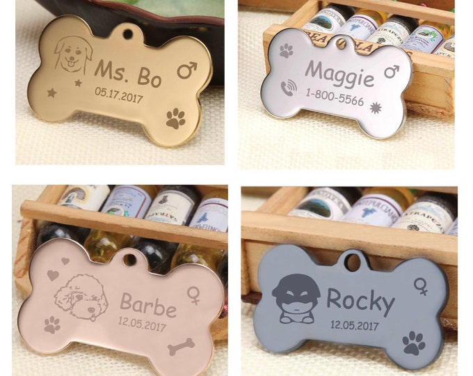 Personalized Pet Name Tag Gold | Black | Silver | RoseGold | Metal | Bone | Stainless steel