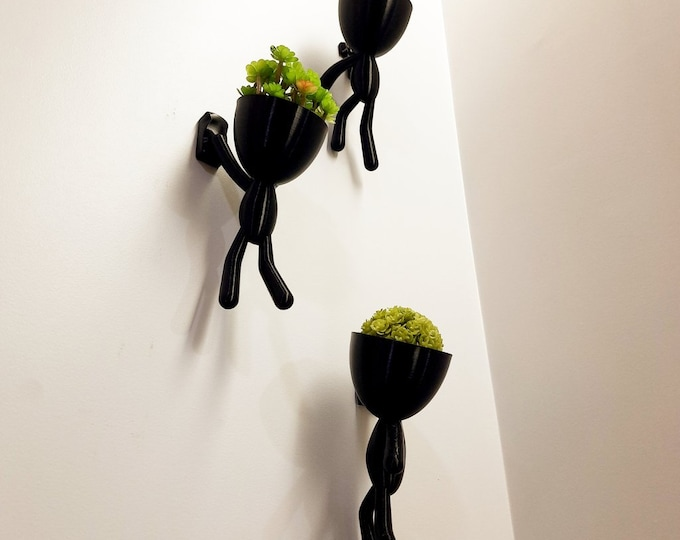 "Adventurer Planter Trio | Plant Buddy ""Trio"" | Plant Holder | Unique Gift | Home Decor | Mini Wall Bob Planter"