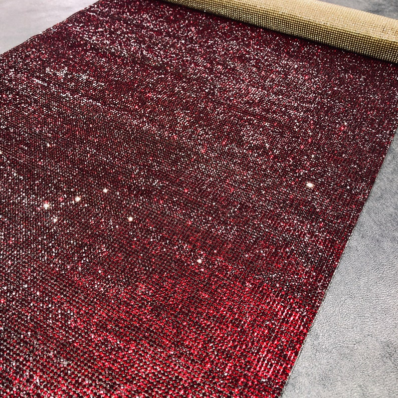 Iron-on Red Rhinestone Sheet Burgundy Crystal Fabric Dark Red Rhinestone Fabric