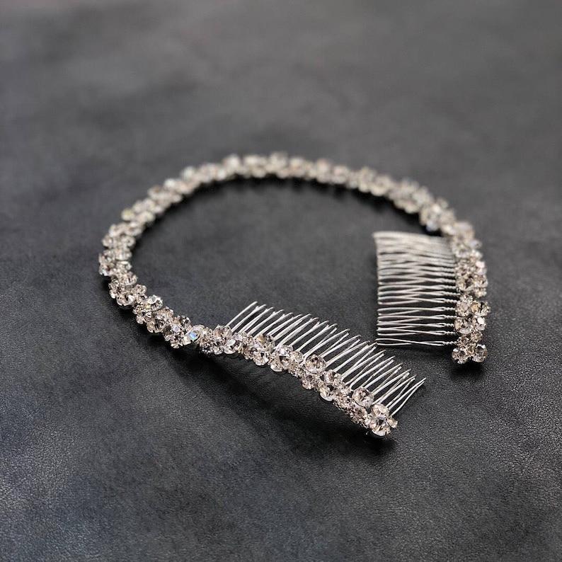 Crystal Hair Tiara Bridal Headband Silver Rhinestone Bridal Headpiece