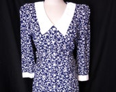 Vintage My Michelle Floral Dress Gunne Sax Style size 9 10 Navy Blue and White