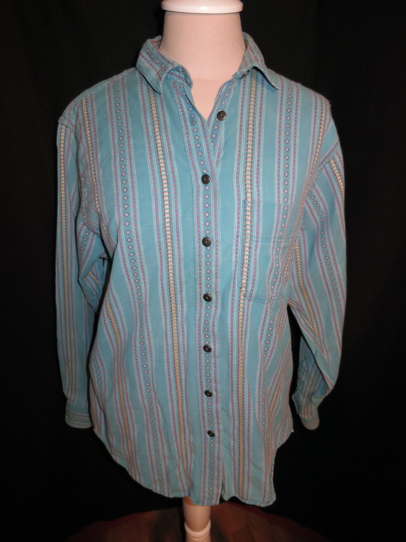 6501499c59 Vintage L L Bean Womens Blouse Size 10 Cotton Stripe Abstract