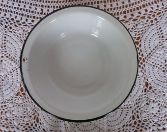 White and Black Enamelware Bowl