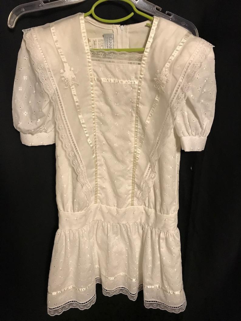 Gunne Sax Dress Girls size 8 white first communion flower girl summer fun dress vintage 1970s